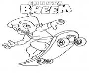 Print Chhota bheem playing skate coloring pages