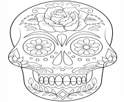 Printable sugar skull with flowers calavera coloring pages
