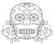 sugar skull and roses 2 calavera coloring pages