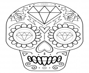 Printable sugar skull with diamonds calavera coloring pages