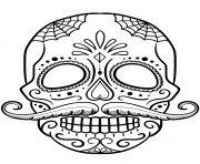sugar skull with mustache calavera coloring pages - Mustache Coloring Pages