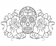 sugar skull and roses calavera coloring pages