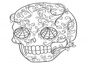 sugar skull very cool easy calavera coloring pages