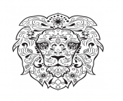 Printable lion sugar skull calavera coloring pages
