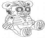 sugar skull bear 2 calavera coloring pages