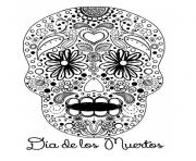 Printable sweet sugar skull dia de los muertos calavera coloring pages