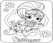 Sweet Genie Shimmer and Pet Monkey coloring pages