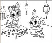 Shimmer and Shine Tiger and Monkey coloring pages