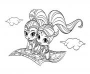 Magic Carpet Shimmer and Shine coloring pages
