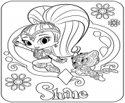 Printable Sweet Genie Shine and Pet Tiger coloring pages