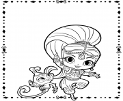 Shimmer and Pet Shimmer and Shine coloring pages