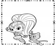 Shine and Tiger from Shimmer and Shine coloring pages
