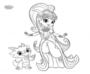 Shimmer and Shine Princess Samira and Nazboo the Dragon coloring pages