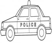 Printable police car simple kid coloring pages