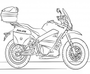Print police moto motorcycle coloring pages