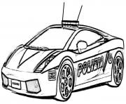 Print police car lambourguini sport coloring pages