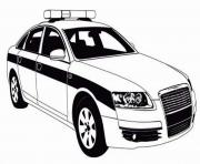 Print police car patrol on the road coloring pages