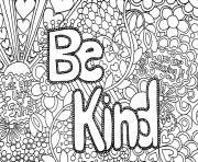 Printable be kind word coloring pages