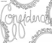 Printable word confidence coloring pages