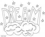 Printable word dream coloring pages