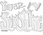Printable you are my sunshine word coloring pages
