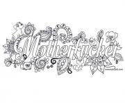 Printable mother fucker adult word doodle coloring pages