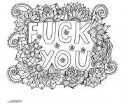 Printable fuck you word doodle adult coloring pages