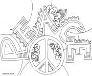 Printable peace word doodle coloring pages