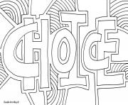 choice word doodle coloring pages