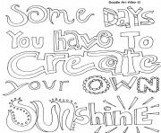 quotes word sunshine coloring pages