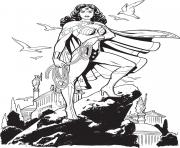 Printable wonder woman 2017 au sommet de la coline dc comics coloring pages