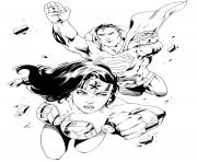 Printable wonder woman with superman for adult coloring pages
