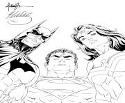 Printable batman superman wonder woman looking at you for adult coloring pages
