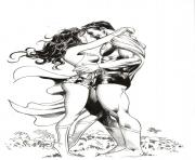 wonder woman with superman romantic moment coloring pages