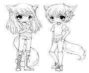 Printable cute anime twins coloring pages