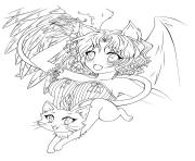 Printable Anime Demon Angel coloring pages