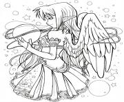 anime dark angel girl adult coloring pages