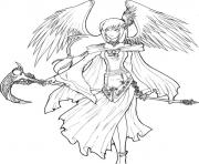 Printable Angel of Death Lineart to Color coloring pages