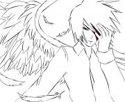 White Anime Angel coloring pages