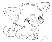 Printable anime dog cute coloring pages
