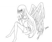 Printable Anime Angel Girl 1 coloring pages