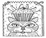 Printable adult cat cup cake by deborah muller coloring pages