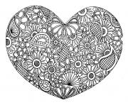 Printable adult heart mandala fleurs zen 2017 coloring pages