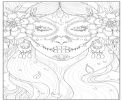 Printable adult days of the dead by Juline coloring pages