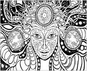 Printable adult difficult psychedelic femme coloring pages