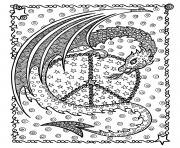 Printable adult dragon de la peace by deborah muller coloring pages