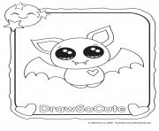 Printable halloween bat draw so cute coloring pages