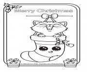 Printable Christmas Card Kitten draw so cute coloring pages
