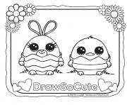 Printable Easter draw so cute coloring pages