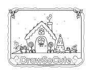 Printable gingerbread house draw so cute coloring pages